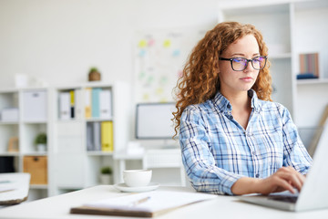 Young curly businesswoman sitting by desk in front of laptop and analyzing online statistics
