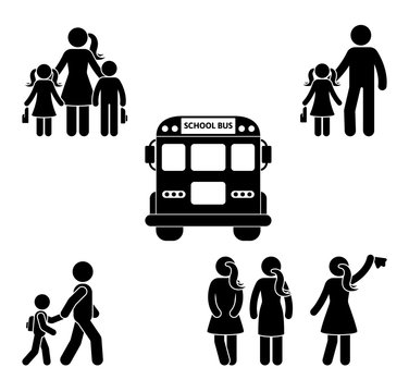 Parents and children before going to school stick figure. Bus, student, mother, father, boys, girls black icon