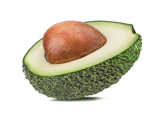 Fresh half green avocado isolated on white background with clipping path