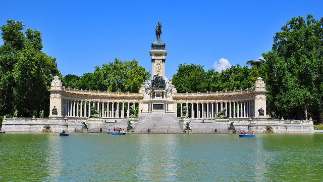 Monument to Alfonso XII in Buen Retiro Park, Madrid, Spain