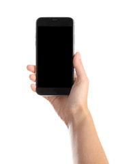 Woman holding smartphone with blank screen on white background. Mockup for design