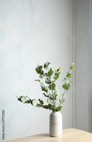 Bunch Of Eucalyptus Branches With Fresh Leaves In Vase On Table