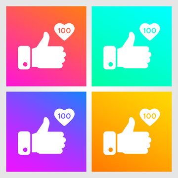 Like, thumbs up icons set on gradient background. Icon like 100. Social network symbol. Social media element. Message bubble. Vector illustration