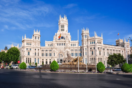 Cybele palace and fountain on Cibeles square, Madrid, Spain
