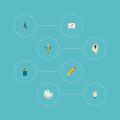 Set of creative icons flat style symbols with concept, idea, drawing tools and other icons for your web mobile app logo design.