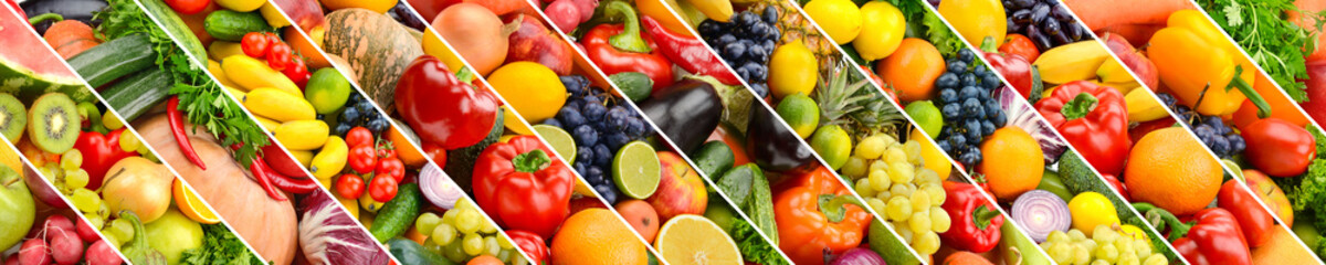 Collage of healthy fruits and vegetables divided oblique lines