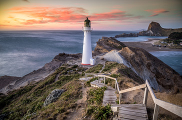 Castlepoint Lighthouse New Zealand at sunrise 2