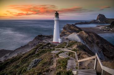 Castlepoint Lighthouse New Zealand at sunrise 1