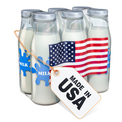 Dairy drink from the USA concept. Package of glass milk bottles with label tag made in the US, 3D rendering