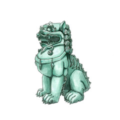 Chinese statue of the dragon guardian. Foo Dog. lion. Asia. watercolor. blue