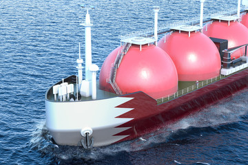 Kuwait gas tanker sailing in ocean, 3D rendering
