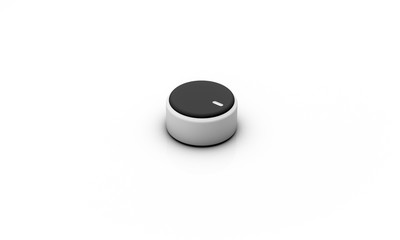Volume button black silver on white background 3d illustration