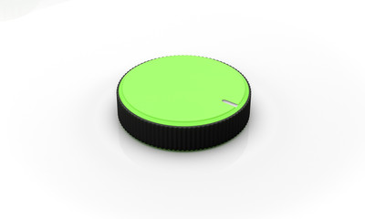 Volume button green on white background 3d illustration