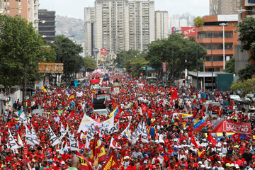 Supporters of Venezuela's President Nicolas Maduro attend a rally in support of him in Caracas