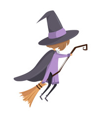 A little witch flying on the broom