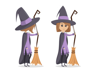 A funny little witch standing with broom