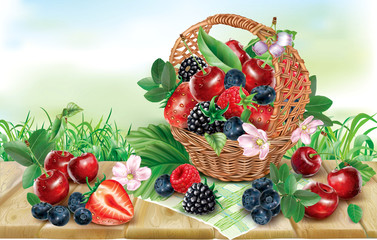 Berries mix in basket on a wooden surface