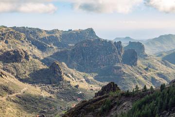 Beautiful mountains range landscape in Gran Canaria island