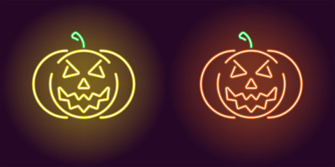 Evil neon pumpkin in yellow and orange color