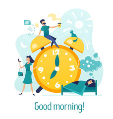 Good morning. Creative abstract concept with flat cartoon