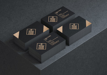 Business Card Mockup on Black Table