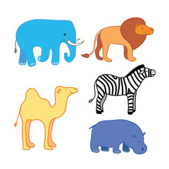Set of African animal stickers. Safari set to study animal names broaden childrens horizons. Elephant lion zebra camel and hippo in profile. Vector isolated. Use as icon sticker mascot sign.