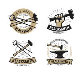 Blacksmith, forge logo or label. Workshop, iron work symbol. Vector illustration