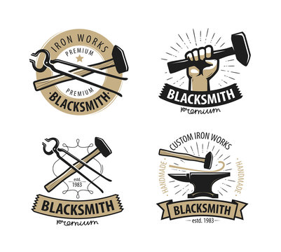 Blacksmith, forge logo or label. Workshop, iron work symbol. Vector illustration