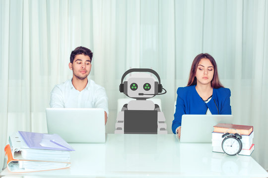 Skeptical corporate employees at work looking at robot colleague