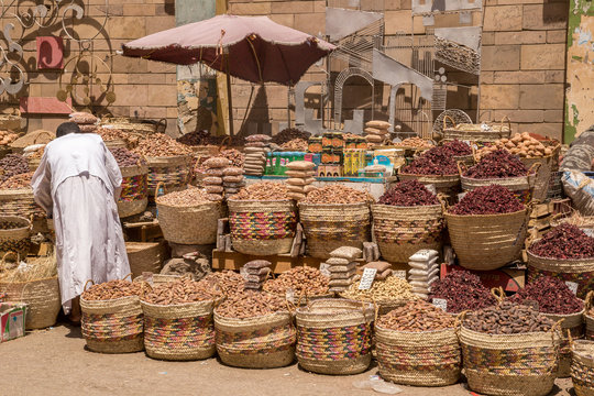 Traditional egyptian bazaar with herbs and spices in Aswan, Egypt. spices bazaar