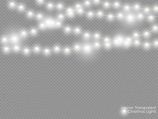 Vector christmas lights isolated on transparent background. Xmas glowing garland. White semitransparent new year lights decoration.