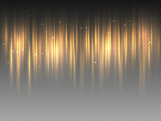 Vertical golden yellow radiance glow pulsing rays on transparent background. Vector abstract illustration of hot orange Aurora Borealis light effect. Shining waves design. Polar glowing flare.