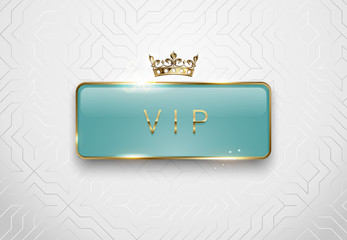 Vip light green glass label with golden frame sparks and crown on white background. Premium glossy template. Vector luxury illustration.