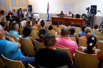 General view shows the public political discussion to revamp a Cold War-era constitution in Havana