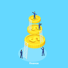 isometric image, people in business suits work in a team and a big gold coin with a dollar sign