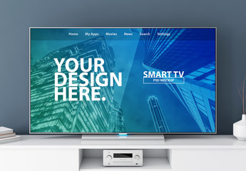 Smart TV on White Console Mockup