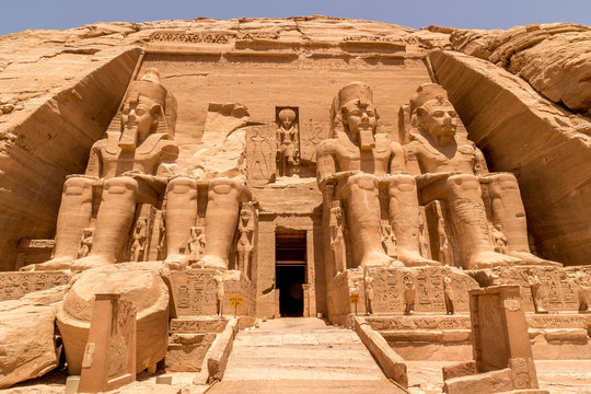 Statues in front of Abu Simbel temple in Aswan Egypt, Africa