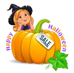 Happy Halloween funny girl in hat with pumpkin sale sign