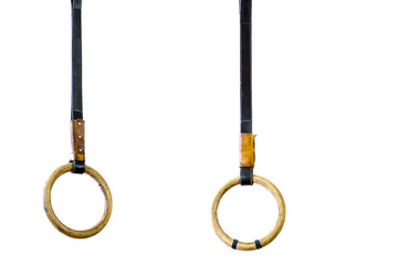 Two rings old on rope isolated on white background