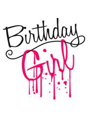 spray tropfen aufhängen graffiti nass frau girl mädchen pink zahl It's My Birthday geburtstag feiern party jubiläum fest geschenke spaß geburtstagskind kind älter jahr alt clipart
