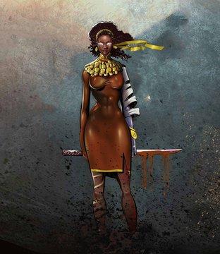 warrior princess, african origin, character creation. beauty queen