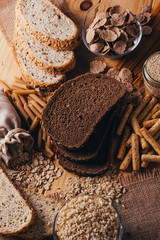 Wooden table full of fiber-rich wholegrain foods, perfect for a balanced diet