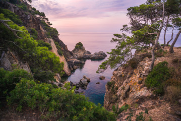 Beautiful seascape at twilight. Hiking outdoors. Wall mural