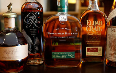 A variety of whisky bottles made in USA are seen in the 'Whisky-Kabinett 'spirit store in Berlin