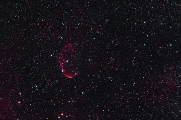 The Crescent Nebula in the constellation Cygnus as seen from Stockach in Germany.