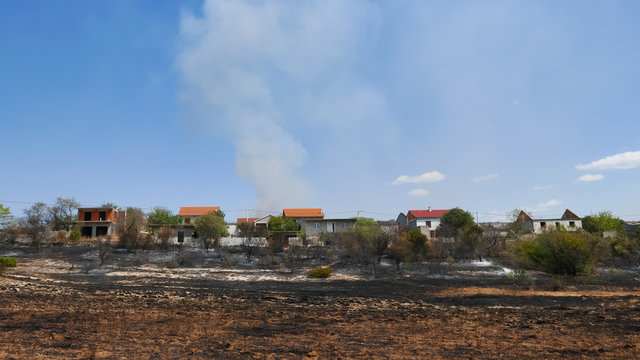 Wildfire in Europe threatening the households, burned crops near houses