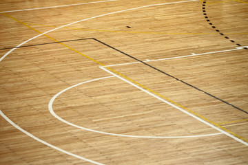 Wooden basketball floor