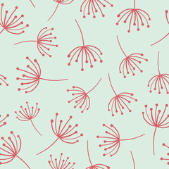 Floral seamless vector background. Abstract red wildflowers. Scandinavian style. Abstract Dandelion flower pattern on blue. Great as simple background for websites, banners, fabric, paper, wallpaper