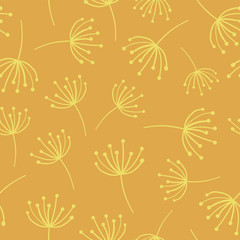 Yellow abstract flowers seamless vector background. Scandinavian style. Abstract Dandelion wildflower pattern. Great as simple background for websites, banners, fabric, paper, wallpaper, cards, invite