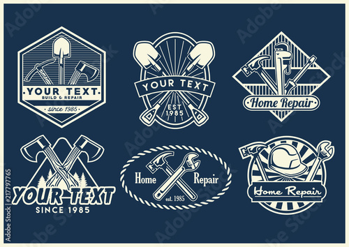 work tools badge design collection stock image and royalty free
